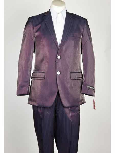 Two Button Shiny Notch Lapel Purple color Mens Suit, act now only $199.00