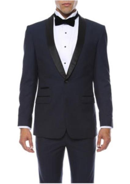 One Button Mens Navy  Shawl Lapel Solid Pattern Tuxedo, act now only $169.00