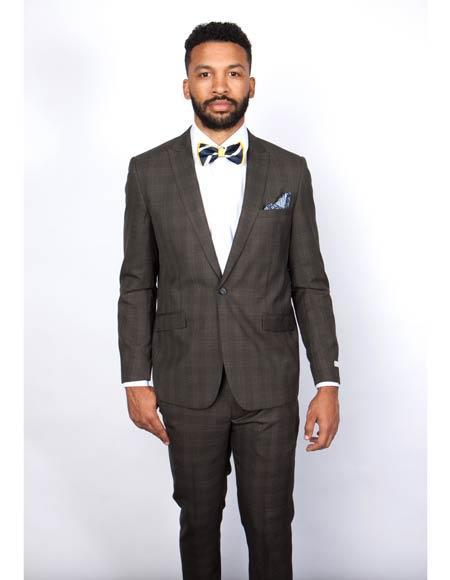 One Button Brown Slim Fit Peak Lapel Mens Suit, act now only $160.00