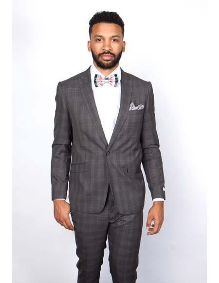 One Button  Charcoal  Slim Fit Peak Lapel Mens Suit, act now only $160.00