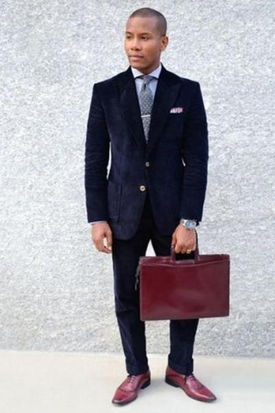 Two Button Navy Single Breasted Blue Suit For Mens, act now only $199.00