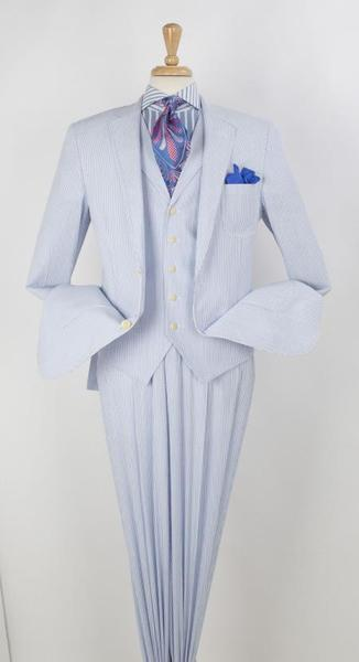 Two Button Besom Pocket Blue Notch Lapel Mens Suit, act now only $199.00