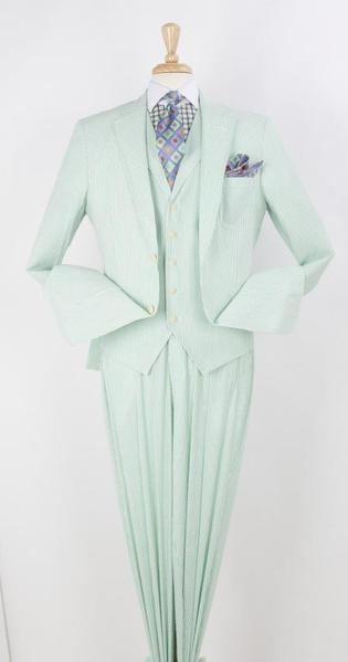 Mens Two Button Green Pleated Pant Notch Lapel Suit, act now only $199.00