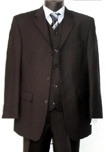 Solid Black Mens Three Buttons Style Cheap Suit, act now only $125.00