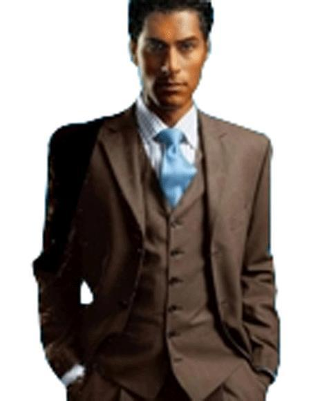 Mens Chocolate Brown single breasted Three Piece Suit, act now only $139.00
