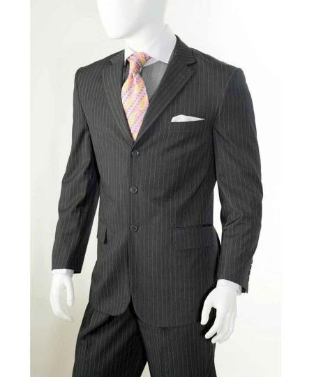 Chalk Pinstripe Mens Three Button Style Suit In Grey, act now only $110.00