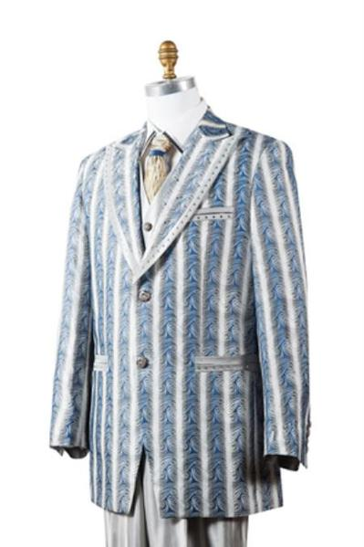 Two Button long full cut jacket Blue Mens Suit, act now only $175.00