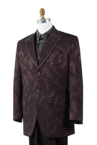 Two Button brown color pleated pants Mens Suit, act now only $175.00