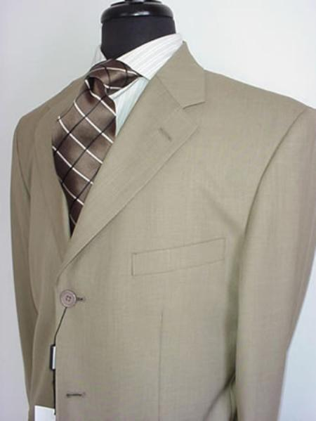 Mens Beige Single Breasted Three Button Style Cheap Suit, act now only $99.00