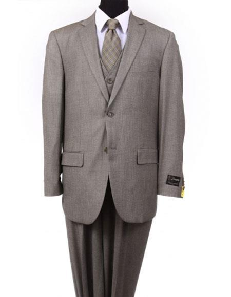 Two Button Style Mens Taupe Dark Tan Notch Lapel Suit, act now only $175.00