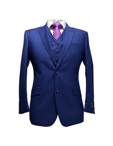 Mens Two Button Style Teal Blue Modern Fit Italian Suits, act now only $159.00