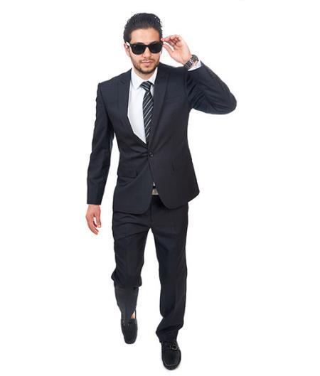 Black One Button Style Peak Lapel Suit For Mens, act now only $165.00