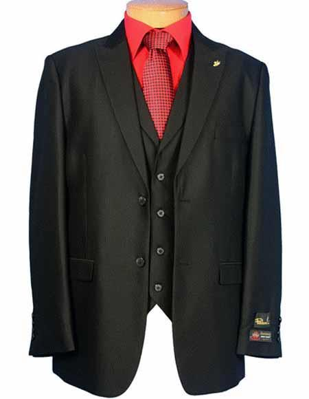 Liquid Jet Black Two Button Falcone Brand Suit For Mens, act now only $185.00