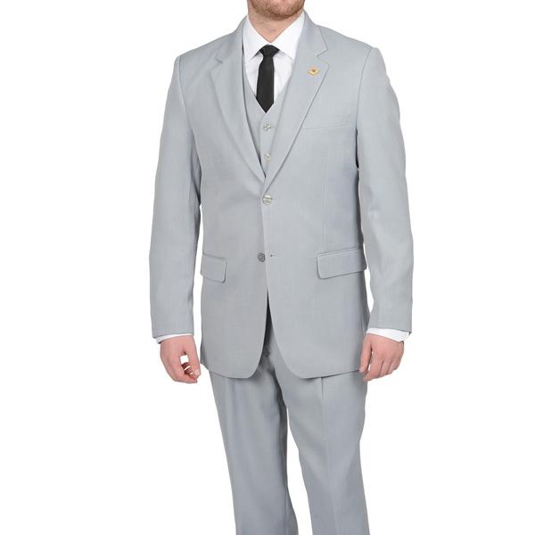 Mens Two Button Silver Double Vent Peak lapel vest Suit, act now only $170.00