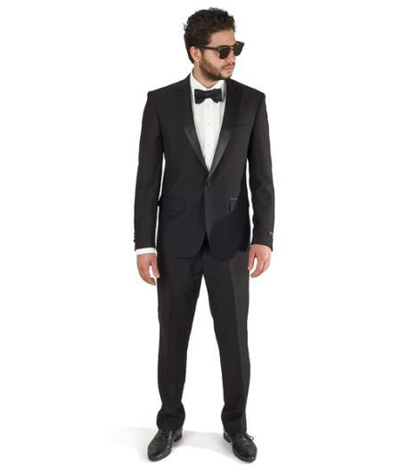 One Button Style Peak Lapel Mens Tuxedo In  Black, act now only $165.00