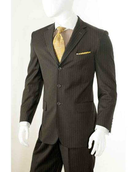Three Button Style Chalk Pinstripe Mens Suit In  Brown, act now only $110.00