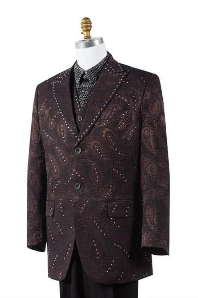 Two Button Style Brown Paisley Mens Suit, act now only $175.00