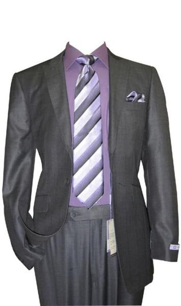 Dark Grey Wool Fabric Flat Front Fitted Mens Suit, act now only $160.00
