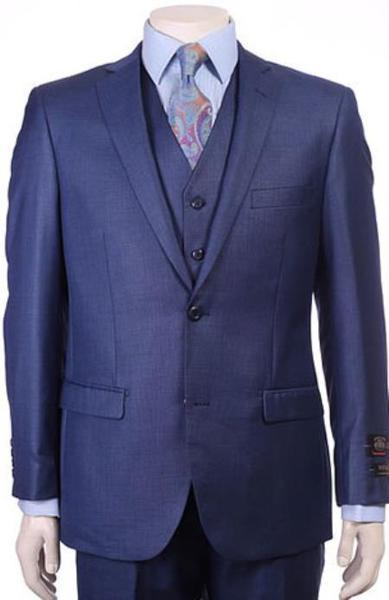 Mens Two Button Pleated Pants Sharkskin Royal Blue Suit, act now only $175.00