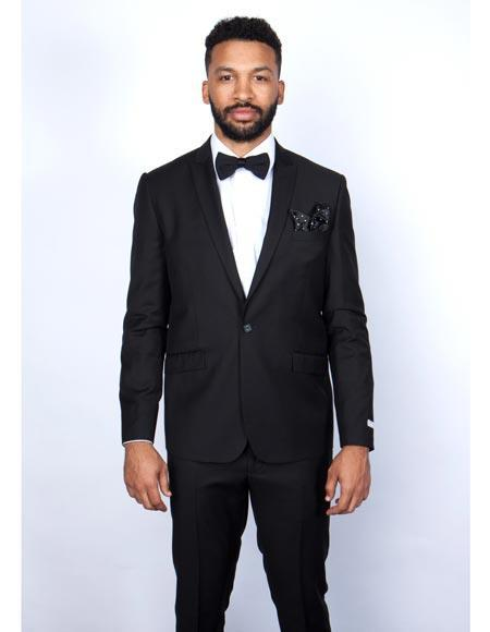 One Button Peak Lapel Black Mens Wool Slim Fit Suit, act now only $185.00