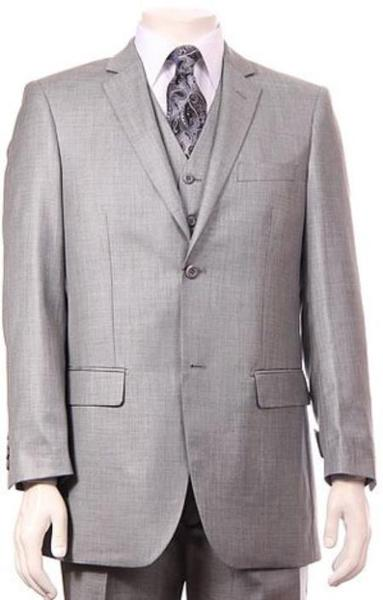 Mens Two Button Pleated Slacks Sharkskin Suit  In Stone, act now only $175.00