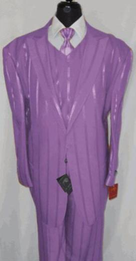 One Button Mens Lavender Peak Lapel Three Piece Suit, act now only $175.00