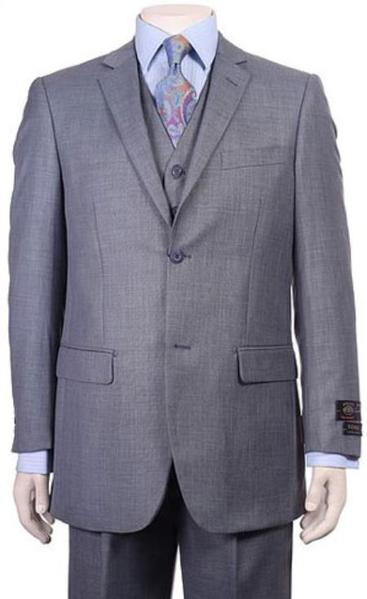Mens Two Button  Vested Pleated Pants Sharkskin Ocean  Suit, act now only $175.00
