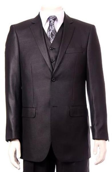 Two Button  Pleated Pants mini pattern Black Mens Suit, act now only $175.00