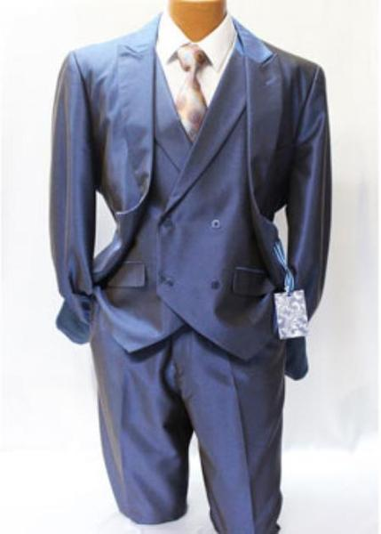 One Button  Blue Mens Shark Skin Vested Regular Suit, act now only $185.00