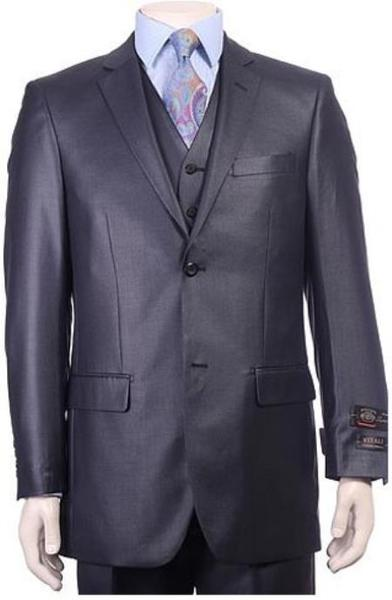 Two  Button Navy Pleated Pants Sheen Sharkskin Mens Suit, act now only $175.00