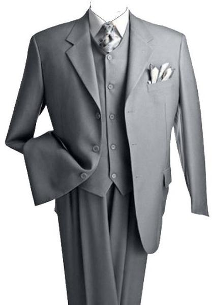 Mens Light Gray Regular Fit Three Buttons Three Piece Vested Suit, act now only $170.00