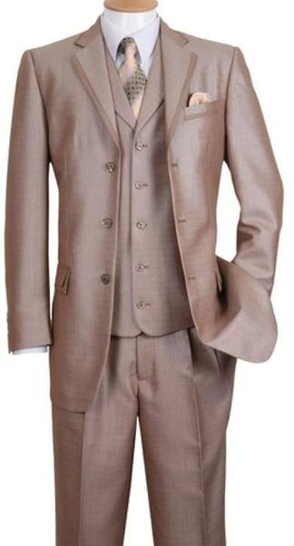 Tan three Button Style Notch Lapel Mens Suit, act now only $135.00