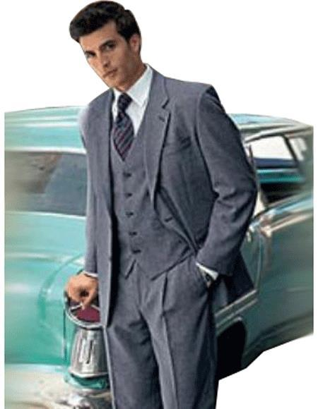 Mens Medium Gray Three Piece Super Wool Suit, act now only $149.00