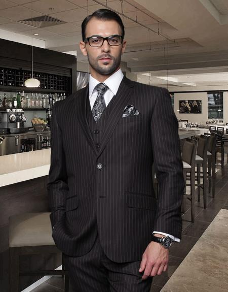 Mens Two Button Jet Black Chalk White Pinstripe Fabric Suit, act now only $175.00