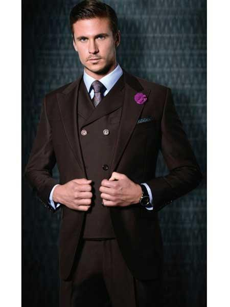 One Button Style Burgundy  Wool Double Breasted Mens Suit, act now only $400.00