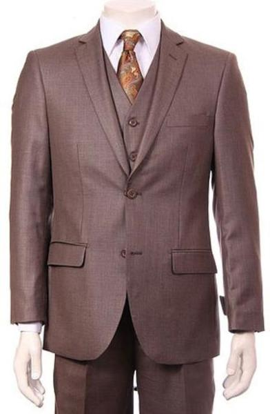 Two Button Vested Sheen Sharkskin Taupe Mens Suit, act now only $175.00