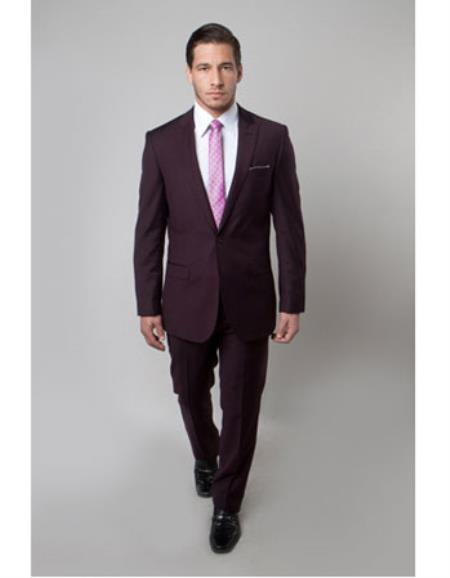 One Button Mens Maroon Slim Fit  wool Suit, act now only $149.00