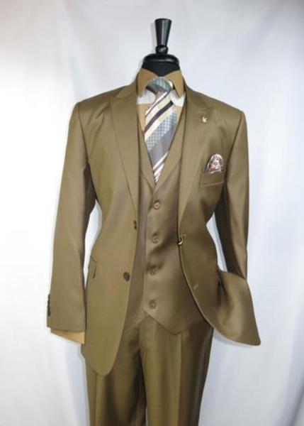 Two Button Peak Lapel Mens Suit In Light Brown, act now only $199.00