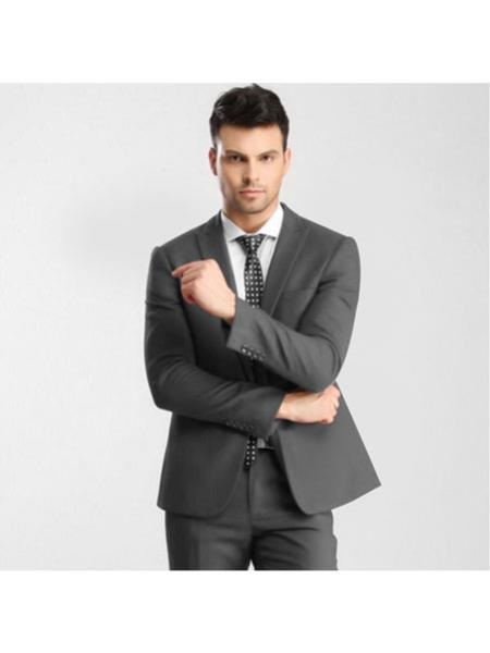 One Button Mens Single Breasted Slim Fit Grey Suit, act now only $139.00