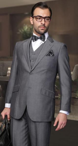 Dark Grey Masculine pleated pants Italian Fabric Mens Suit, act now only $165.00