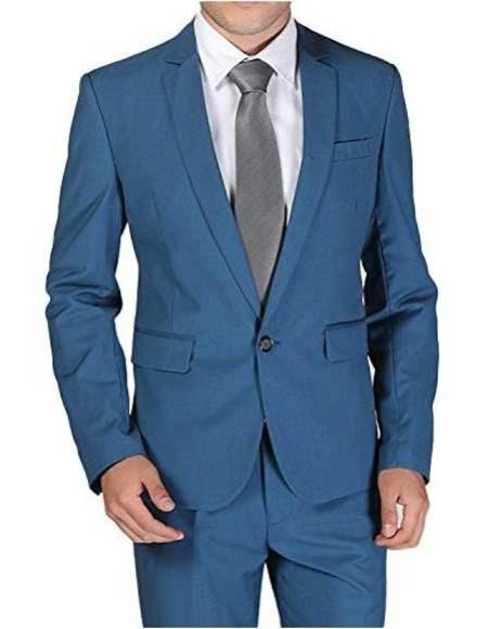 One Button Mens Teal Blue Slim Fit Wool Suit, act now only $139.00