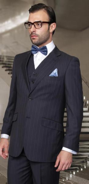 Two Button Style Mens Side Vented pleated pants Navy Suit, act now only $170.00
