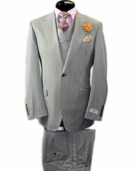 One Button Italian Grey Wide Leg Vested Mens Suit, act now only $399.00