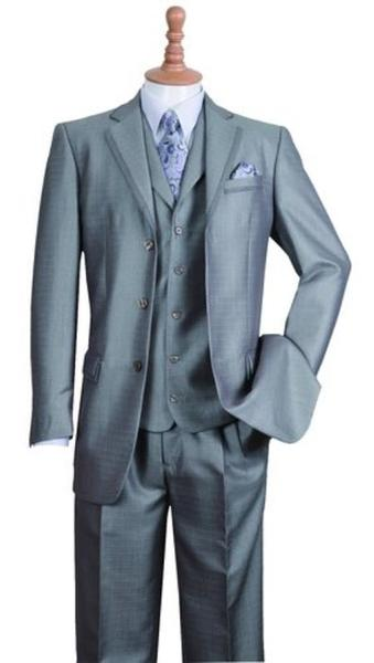 Mens Three Button Style Notch Lapel Suit In Silver, act now only $135.00