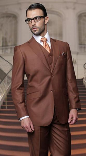 Two Button Style Copper Side Vented Mens Suit, act now only $165.00