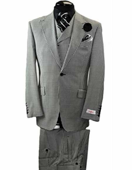 One Button Black & White Peak Lapel Mens Wool Suit, act now only $399.00