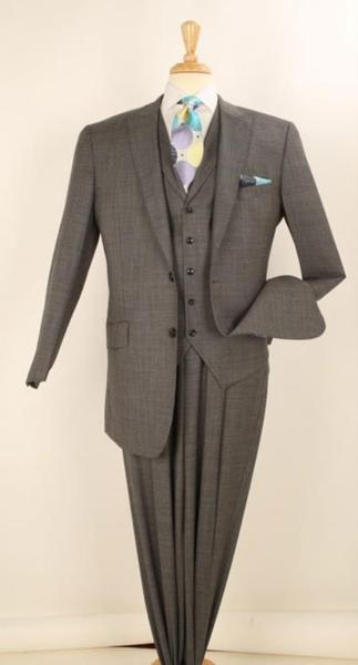 Two Button Notch Lapel Dark Grey Mens Suit, act now only $175.00