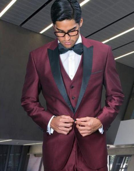 One Button Burgundy Peak Lapel Three Piece Mens Suit, act now only $250.00