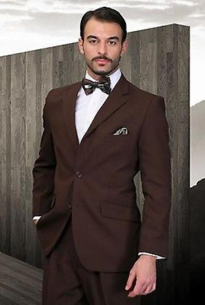Brown Single breast Poly Rayon Modern Fabric Mens Suit, act now only $125.00