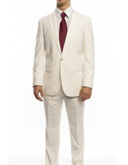 One Button Ivory Single Breasted Slim Fit Mens Suit, act now only $160.00